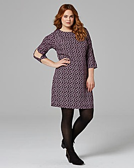 Mulberry Print Split Sleeve Tunic Dress