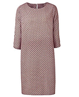Pink Geo Print Split Sleeve Tunic Dress