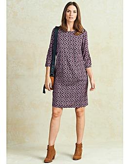 Pink Geo Print Split Sleeve Tunic Dress