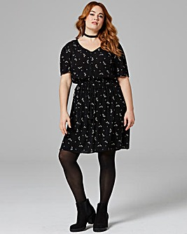 Black Floral Crinkle Tea Dress