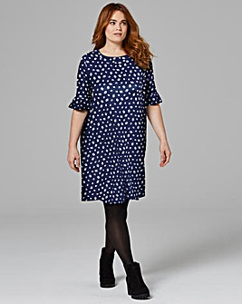 Navy Floral Frill Jersey Swing Dress