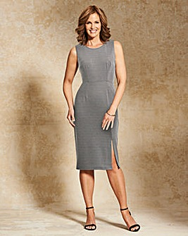 Black/Grey Split Front Smart Dress