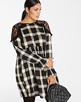 Black/Ivory Check Smock Dress