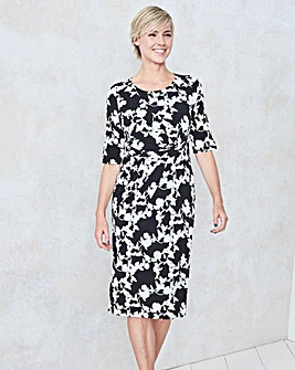 Black/Ivory Floral Twist Knot Dress