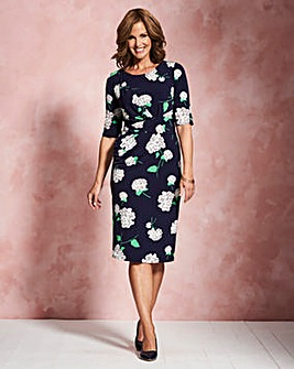 Navy Print Twist Knot Dress
