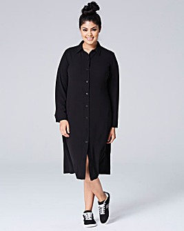 Black Button Down Midi Shirt Dress