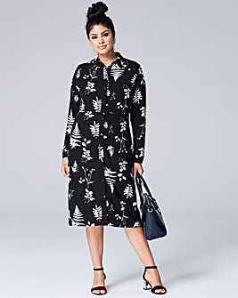 Black/Ivory Button Down Midi Shirt Dress