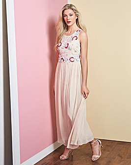Nude Embroidered Maxi Dress