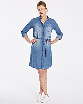 Vintage Blue Denim Shirt Dress