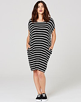 Black/Ivory Stripe T-shirt Pocket Dress