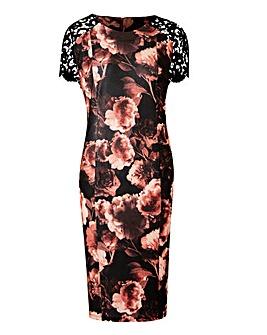 Black Print Lace Sleeve Shift Dress