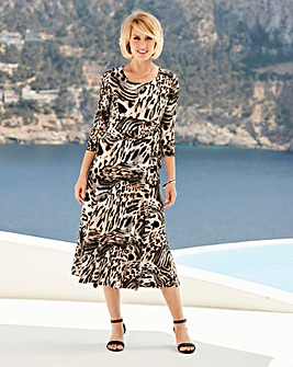 Nightingales Print Jersey Dress