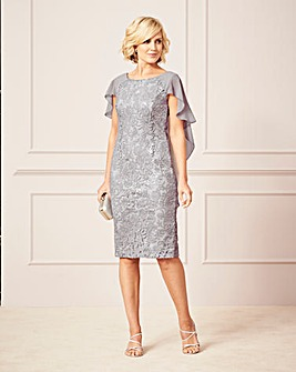 Nightingales Sequin Lace Cape Dress