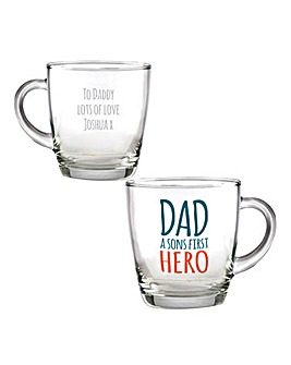 Personalised Dad First Hero Glass Mug