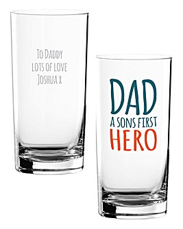 Personalised Dad First Hero Hi Ball Glas