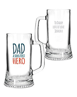 Personalised Dad First Hero Pint Stern