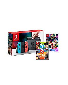 Switch Neon Console and 2 Games
