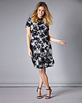 Simply Be Sketchy Floral Collar Dress