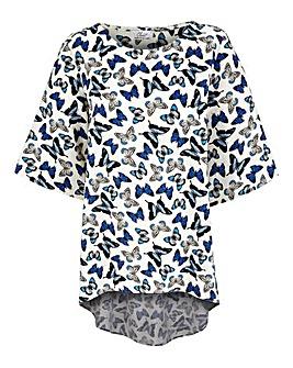 Closet Butterfly Print Dipped Hem Top