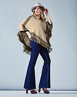 Simply Be Fringed Knitted Poncho