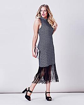 Simply Be Fringed Hem Jacquard Dress