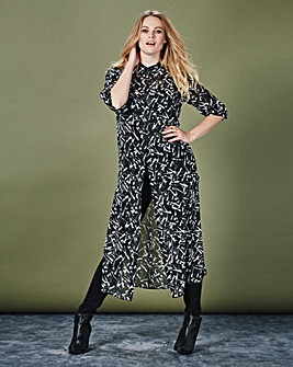 Simply Be Scatter Print Sheer Maxi Shirt