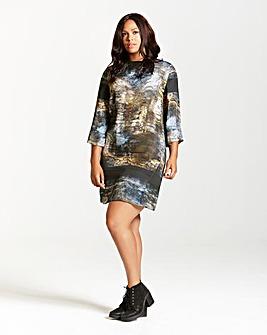 Elvi Marble Print Shift Dress