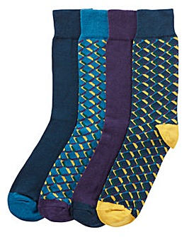 Capsule Pack of 4 Geo Socks