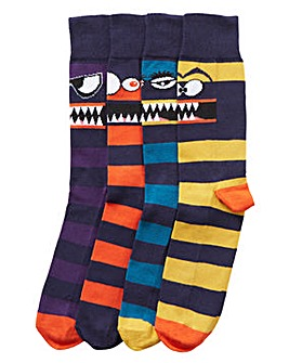 Capsule Pack of 4 Monster Socks