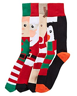 Capsule Pack of 4 Christmas Socks
