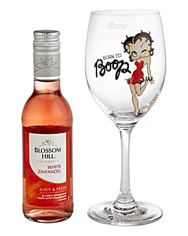 Personalised Betty Boop Glass & Wine