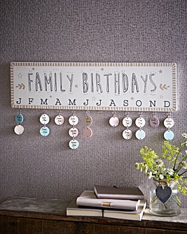 Wall Mounted Family Birthdays Chart