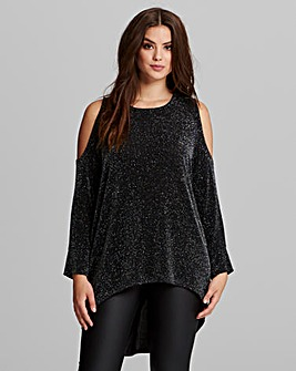 AX Paris Lurex Cold Shoulder Top