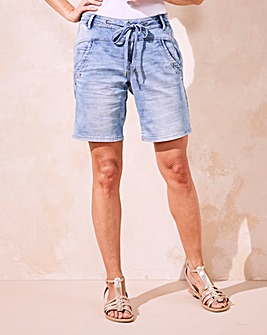 Cream Supersoft Denim Jog Shorts
