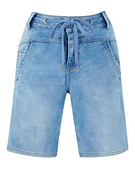 Cream Supersoft Denim Jog Shorts