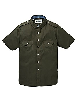 Jacamo Short Sleeve Khaki Military Shirt