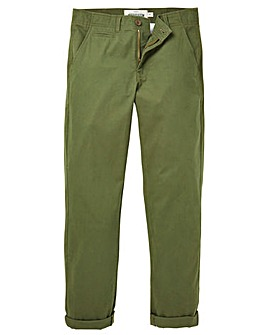 Jacamo Khaki Stretch Tapered Chino 29in
