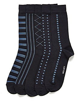 Wolsey 5 Pack Navy Patterned Socks