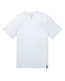 Flintoff By Jacamo White Scoop T-Shirt R