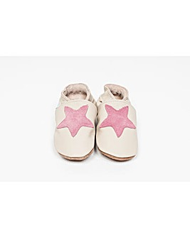 Hippychick Baby Shoes Cream/Pink Stars