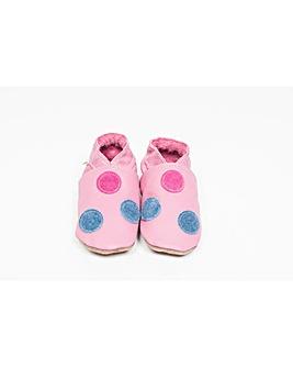 Hippychick Baby Shoes Denim/Pink Spots