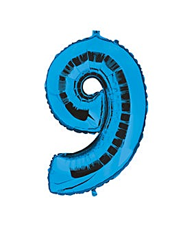 100cm Numeral Balloon Blue Number 9