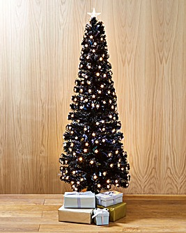 Slim Fibre Optic Black Tree With Star