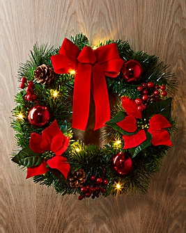 Pre-Lit LED Poinsettia Wreath