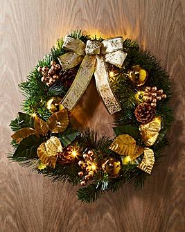 Pre-Lit LED Poinsettia Wreath