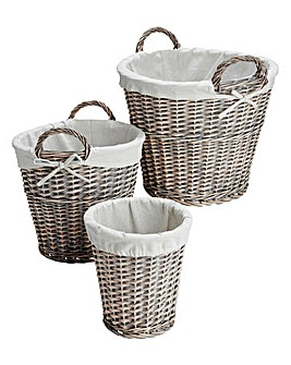 Natural Willow Set of 3 Round Baskets