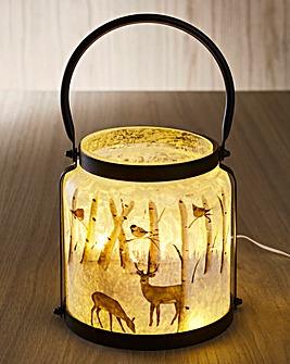 Woodland Reindeer Lit Glass Lantern