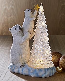 Polar Bears and Light up LED Tree