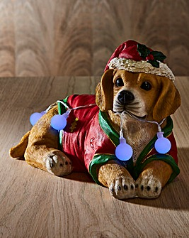 Golden Retriever Wrapped in Xmas Lights