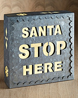 Santa Stop Here Silver Glitter Sign